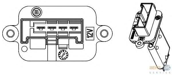 9ML351332221 Резистор мотора отопителя OPEL MERIVA -10