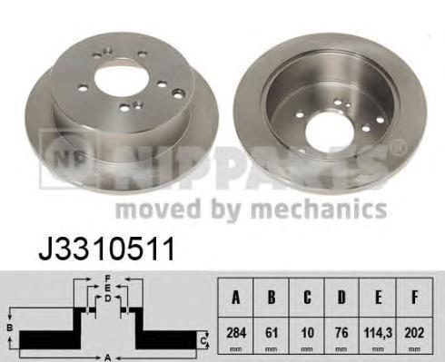 J3310511 Диск тормозной HYUNDAI ix35/SANTA FE (SM)/TRAJET/TUCSON/KIA SPORTAGE 04- задний