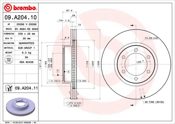 09A20411 Диск тормозной TOYOTA LAND CRUISER PRADO (J120) 2.7-4.0 02- передний