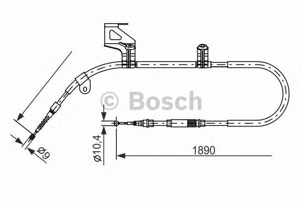 1987477803 Трос ручного тормоза VW PASSAT -05 1890мм