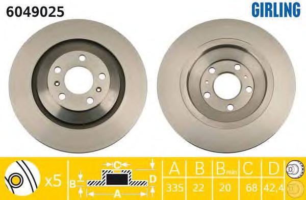 6049025 Диск тормозной AUDI A8 2.8-6.0 02-10/VW PHAETON 3.0-6.0 02- передний