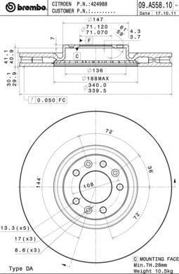 09A55810 Диск тормозной CITROEN C5 09-/PEUGEOT 508 10- передний D=340мм.