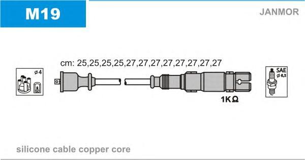M19 Комплект проводов зажигания MERCEDES-BENZ: C-CLASS 93-00, C-CLASS 00-, C-CLASS Break 96-01, C-CLASS универсал 96-01, CLK 97-
