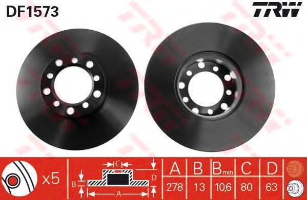 DF1573 Диск тормозной MERCEDES W123 200-300 76-85/W126 280 79-85 передний D=278мм.