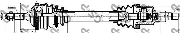 245027 Привод в сборе PEUGEOT 206 1.1-1.4 98- лев. +ABS