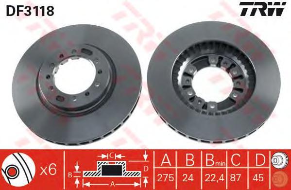 DF3118 Диск тормозной MITSUBISHI PAJERO 90-/L 200 92- передний вент.D=276мм.