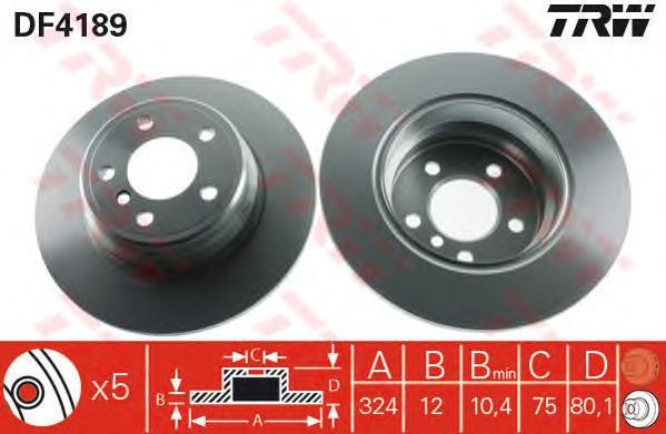DF4189 Диск тормозной BMW X5 E53 3.0-4.4 00- задний