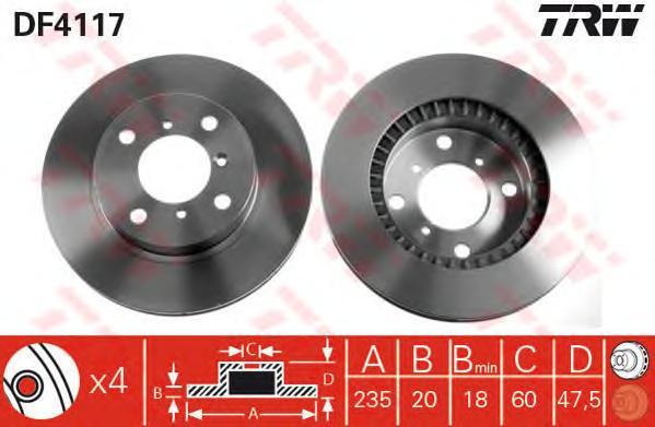 DF4117 Диск тормозной передн SUZUKI: BALENO 95-02, BALENO хечбэк 95-02, BALENO универсал 96-02