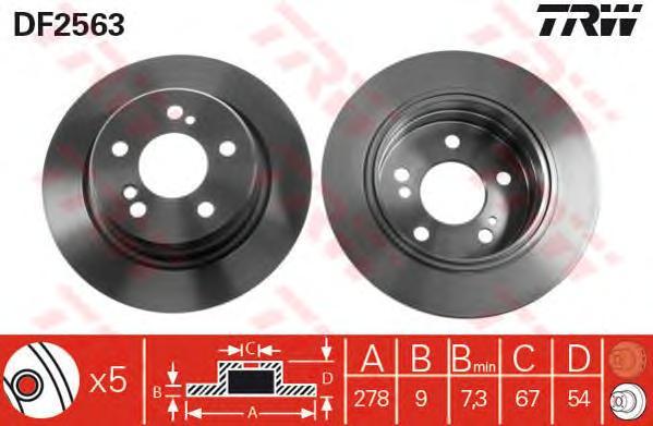 DF2563 Диск тормозной MERCEDES W202/W203/W124/W210/R170/R171 задний D=278мм.