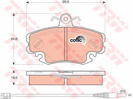 GDB1465 Колодки тормозные RENAULT LOGAN 04-/SANDERO 08-/CLIO 91- передние с датчиком