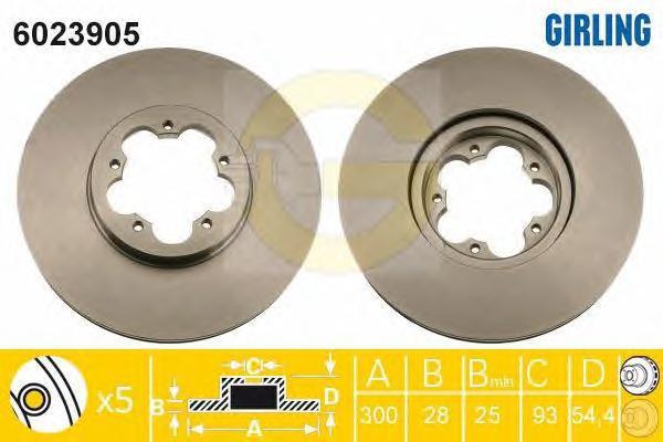 6023905 Диск тормозной FORD TRANSIT 06- передний вент.D=300мм.