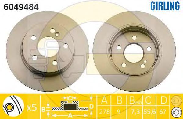 6049484 Диск тормозной MERCEDES W204 180-200 07- задний D=278мм.