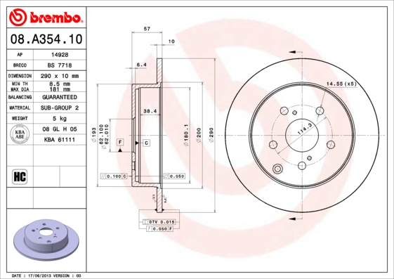 08A35410 Диск тормозной TOYOTA COROLA Verso 1.6-2.2 04- задний D=290мм.