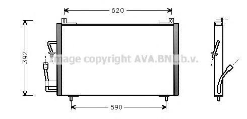 PE5182 Радиатор кондиционера PEUGEOT: 406 (8B) 1.6/1.8/1.8 16V/1.9 D/2.0 16V/2.0 Turbo/3.0 24V 95 - 04 , 406 Break (8E/F) 1.8/1.