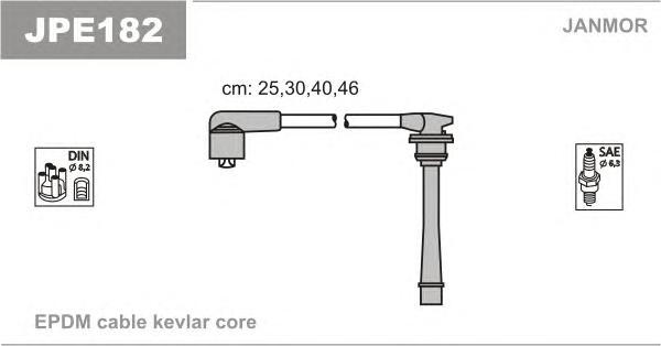 JPE182 Комплект проводов зажигания HYUNDAI: ACCENT 94-00, ELANTRA 00-, GETZ 00-, MATRIX 00-