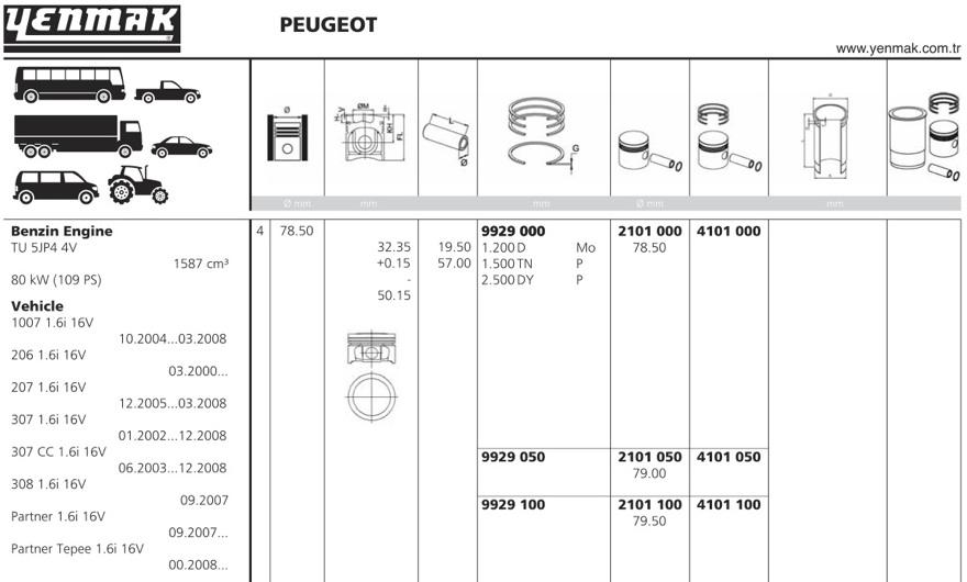 4101050 Поршень ДВС с кольцами Citroen Xsara 1.6 16V TU5JP4 =78.5 1.2x1.5x2.5 +0.50 97