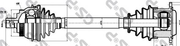 261085 Привод в сборе FORD GALAXY/VW SHARAN 1.8T-2.3 95-10 лев. +ABS АКПП