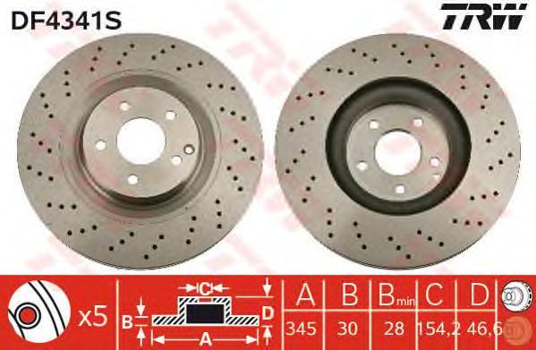 DF4341S Диск тормозной MERCEDES W203/C209 3.0-6.2 передний вент.D=345мм.