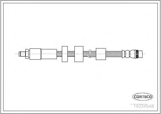 19034948 Шланг тормозной CITROEN: BERLINGO 1.6/1.6 HDi 110/1.6 HDi 75/1.6 HDi 90 08-, BERLINGO 1.6 16V 96-, BERLINGO фургон 1.6/