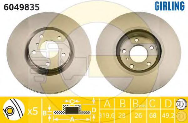 6049835 Диск тормозной NISSAN MURANO 3.5 05/INFINITI FX35/FX45 05 передний вент.