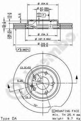 09780811 Диск тормозной передн MERCEDES-BENZ: CLK кабрио 98-02, E-CLASS универсал 96-03