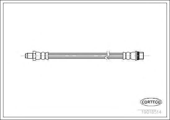 19018514 Шланг тормозной RENAULT: 19 I Cabriolet 1.7/1.8 16V 91-92, 19 I фургон 1.2/1.4/1.9 D 88-92, 19 II 1.2/1.4/1.4/1.4/1.7/1