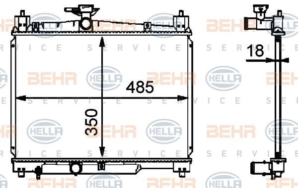 8MK376718421 Радиатор системы охлаждения TOYOTA: YARIS (_CP10) 1.0 16V/1.0 16V (SCP10_)/1.3 99-