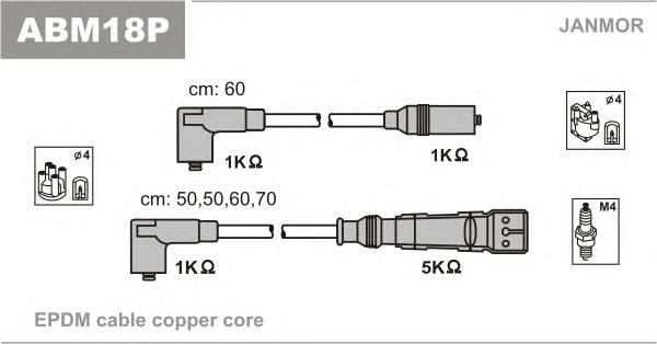 ABM18P Комплект проводов зажигания VW: GOLF 1.0/1.3 85-/VENTO 1.6