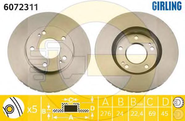 6072311 Диск тормозной MITSUBISHI SPACE RUNNER 96-/SPACE WAGON 98- передний вент.D=276мм