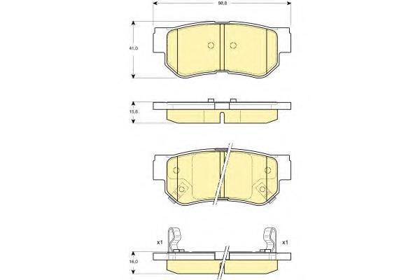6132849 Колодки тормозные HYUNDAI GETZ/MATRIX/SANTA FE/SONATA/TUCSON/KIA SPORTAGE задние