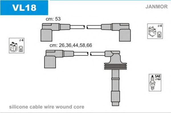 vl18 Комплект проводов зажигания VOLVO: 850 91-97, 850 Wagon 92-97, 850 универсал 92-97, S70 96-00, V70 I универсал 96-00, V70