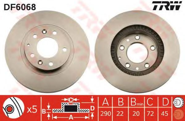 DF6068 Диск тормозной передн MAZDA: MX-5 III (NC) 05-