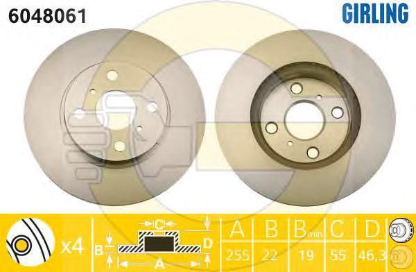 6048061 Диск тормозной TOYOTA YARIS 06- без АБС (пр-во Япония) передний вент.D=255мм.