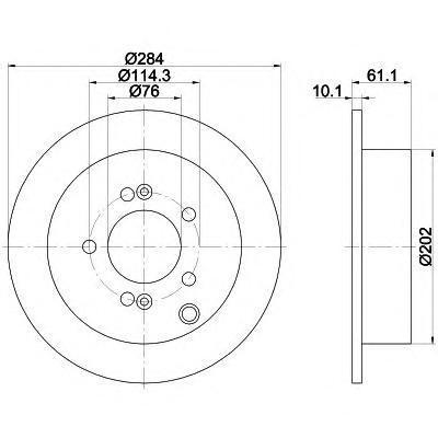 8DD355111421 Диск тормозной HYUNDAI ix35/SANTA FE (SM)/TRAJET/TUCSON/KIA SPORTAGE 04- задний