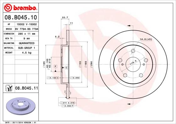08B04510 Диск тормозной TOYOTA AVENSIS 09- задний D=290мм.