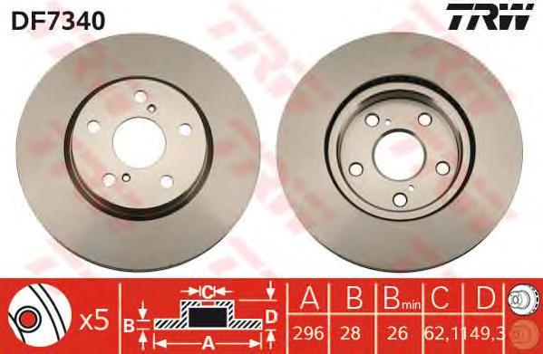 DF7340 Диск тормозной LEXUS IS 2.2-2.5 05- передний вент.D=296мм.
