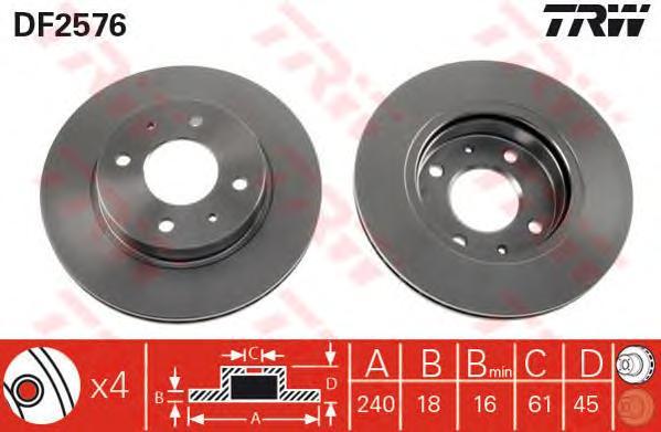DF2576 Диск тормозной NISSAN SUNNY 82-00 передний вент.D=240мм.