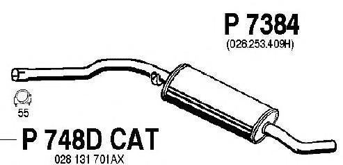 P7384 Резонатор VW TRANSPORTER 1.9TD 92-03