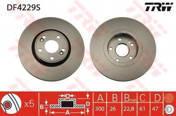 DF4229S Диск тормозной RENAULT LAGUNA II 1.8-2.2 01-07 передний D=300мм.