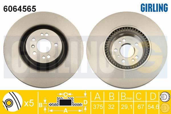 6064565 Диск тормозной MERCEDES ML W164/GL X164/R W251 06- передний вент. D=375мм.