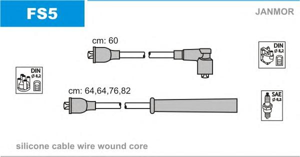 FS5 Комплект проводов зажигания FORD: SIERRA 87-93, SIERRA Break 82-86, SIERRA хэтчбек 82-87, SIERRA хэтчбек 87-93, SIERRA униве