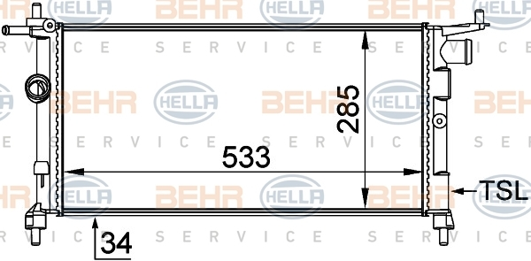 8MK376712004 Радиатор системы охлаждения OPEL: COMBO (71) 1.2/1.4 94 - 01 , CORSA B (73, 78, 79) 1.2 i/1.4 Si/1.4 i/1.4 i 16V/1.