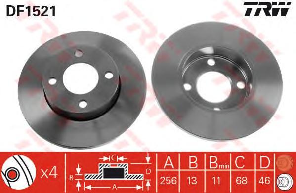 DF1521 Диск тормозной AUDI 80 8691/100 7688 передний не вент.