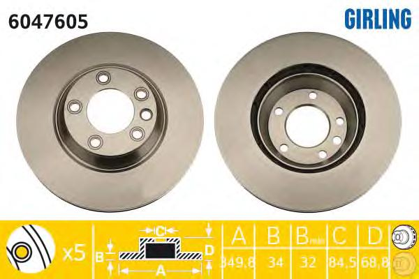 6047605 Диск тормозной AUDI Q7 07/VW TOUAREG 03/PORSCHE CAYENNE передний прав.вент.
