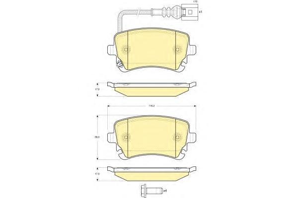 6115571 Колодки тормозные VOLKSWAGEN T5 03/MULTIVAN 03 с датчиком задние