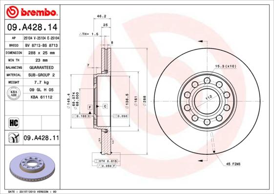09A42814 Диск тормозной SKODA SUPERB 02-08/VW PASSAT 00-05 передний вент.D=288мм.