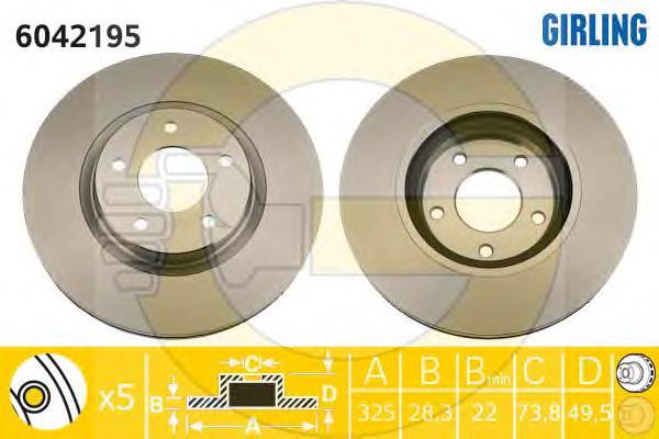 6042195 Диск тормозной JAGUAR S-TYPE 99-/FX 08-/XJ 97-/XK 96- передний вент.