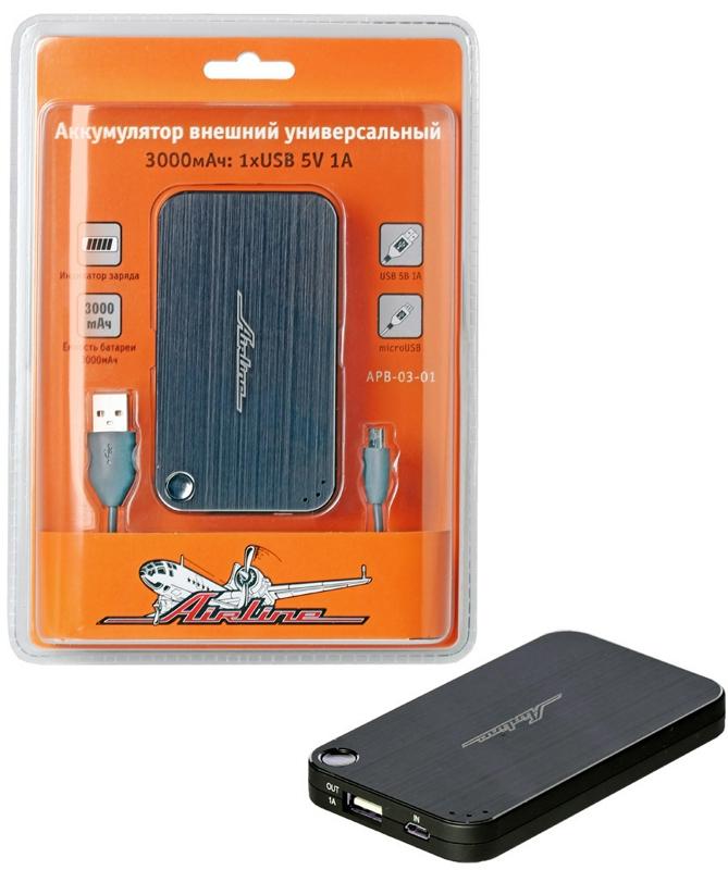 APB0301 Аккумулятор внешний универсальный 3000мАч: 1хUSB 5V 1A ()