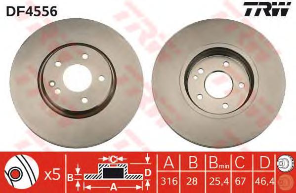DF4556 Диск тормозной MERCEDES W210 2.7-4.3 96-03 передний D=316мм