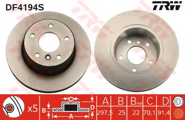DF4194S Диск тормозной LAND ROVER DISCOVERY II 98-04 передний вент.